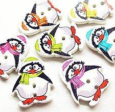 Galantéria - Gombíček vianočný tučniak 2,8 cm - 11291051_