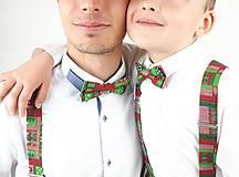 Doplnky - Set Motýlik a Traky otec a syn - vianočný - 11291521_