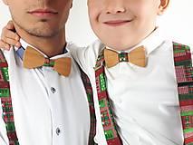 Doplnky - Set Drevený Motýlik Otec a Syn - vianočný - 11291569_
