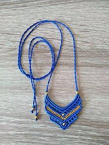 Náhrdelníky - Modrý makramé prívesok, náhrdelník - 11290252_