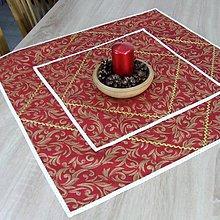 Úžitkový textil - LEONA - zlaté ornamenty na vínovej s bodkami - štvorcový obrus obrus - 11291860_