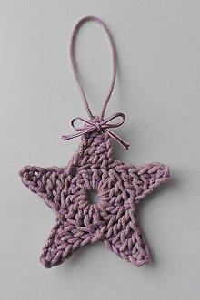 Dekorácie - Závesné dekorácie/háčkované vianočné hviezdičky 3 (Závesné dekorácie/háčkované vianočné hviezdičky 3 - staroružová) - 11292926_