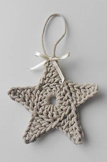 Dekorácie - Závesné dekorácie/háčkované vianočné hviezdičky 3 (Závesné dekorácie/háčkované vianočné hviezdičky 3 - béžová) - 11292933_