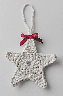 Dekorácie - Závesné dekorácie/háčkované vianočné hviezdičky 4 (Závesné dekorácie/háčkované vianočné hviezdičky 4 - smotanová) - 11292983_