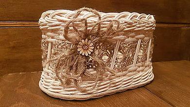 Dekorácie - Oválny košík s kvetinkou - 11292958_