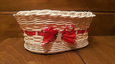 Dekorácie - Vianočný oválny košík s mašličkou - 11293033_