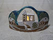 Dekorácie - keramika svietnik domčeky.. - 11292461_