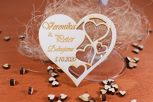 Drevená svadobná magnetka Ľudový motív 31
