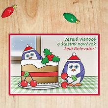 Papiernictvo - Vianočná pohľadnica - tučniaci (čerešňová torta) - 11291181_