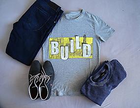 Oblečenie - Pánske maľované tričko BUILD - 11295354_