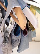 Iné tašky - Taška na obed z recyklovanej džínsoviny (Džínsová/Zelená podšívka s bielymi bodkami) - 11294639_