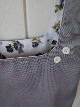 Iné tašky - Taška na obed z recyklovanej džínsoviny (Vzorovaná košeľovina/Biela podšívka s ružičkami) - 11294675_