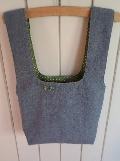 Taška na obed z recyklovanej džínsoviny (Džínsová/Zelená podšívka s bielymi bodkami)