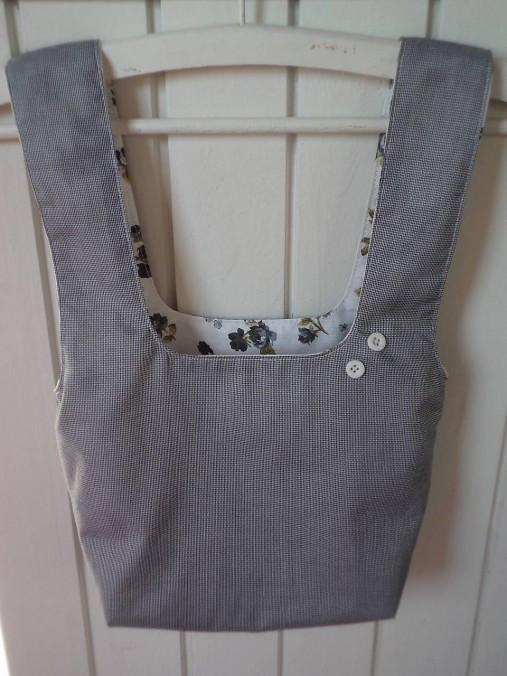 Taška na obed z recyklovanej džínsoviny (Vzorovaná košeľovina/Biela podšívka s ružičkami)