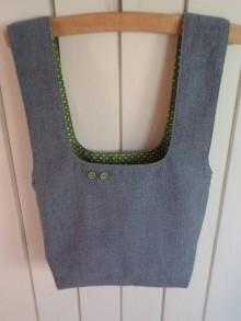 Iné tašky - Taška na obed z recyklovanej džínsoviny (Džínsová/Zelená podšívka s bielymi bodkami) - 11294665_