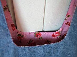 Iné tašky - Taška na obed z recyklovanej džínsoviny (Džínsová/Ružová podšívka s ružičkami) - 11294682_