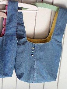 Iné tašky - Taška na obed z recyklovanej džínsoviny (Džínsová/Žltá podšívka s bielymi kvietkami) - 11294708_