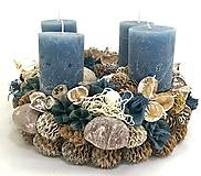 Dekorácie - Adventný veniec -modrý - 11294039_
