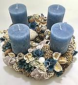 Dekorácie - Adventný veniec -modrý - 11294040_