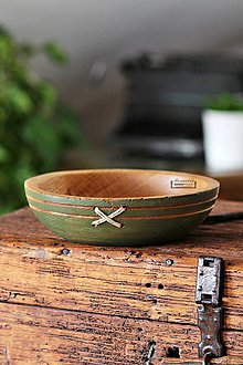 Nádoby - Drevená dubová miska olivová prešívaná Ø18,5/5 - 11296245_