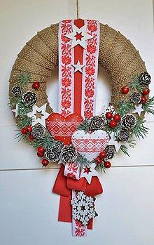 Dekorácie - Ľudový vianočný veniec - 11296846_