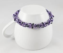 Náramky - Byzantský fialovošedý náramek - 11293668_