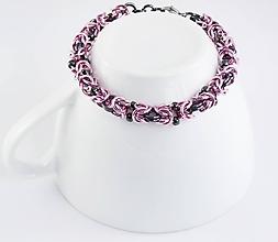 Náramky - Byzantský růžovošedý náramek - 11293677_