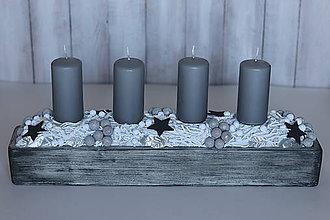 Svietidlá a sviečky - Sivo - biely svietnik - 11296188_