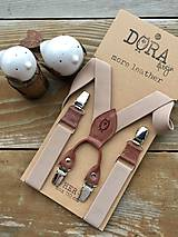 Iné doplnky - Dámske béžové traky s hnedou kožou - 11293536_