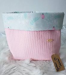 Textil - Košík na plienky z vafle bavlny v baby ružovej - 11297397_