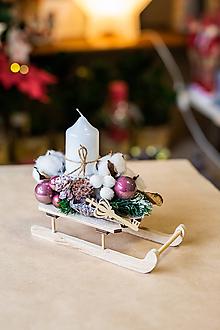 Dekorácie - Vianoce - svietnik - biele sánky - 11296710_
