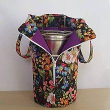 Iné tašky - taška na obedár kvety na čiernom podklade - 11297379_
