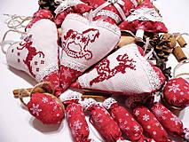 Sada 17 ks  vianočných ozdôb vyšívaných - červeno vínové