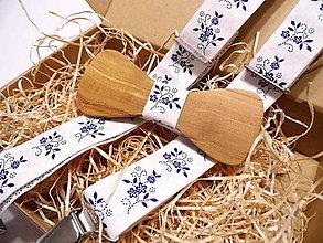 Doplnky - Pánsky set - Folklórny drevený motýlik + traky - 11294809_
