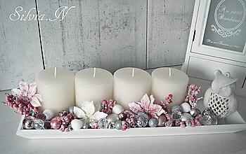 Dekorácie - Adventný svietnik ružový. - 11297239_