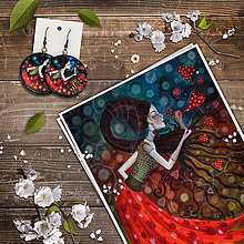 Obrazy - Print a náušnice - Srdcofuk - 11295604_