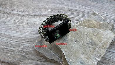 Iné - Survival paracord náramok 4 v 1 (3023) - 11296080_