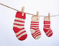 Dekorácie - Červené ponožky - jednotlivo (Vianočné ozdoby) - 11296128_