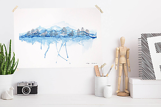 Obrazy - Pod horou I - Akvarel A3 - 11294393_