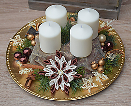 Dekorácie - Adventný svietnik - tanier - 11296163_