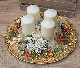 Dekorácie - Adventný svietnik - tanier - 11296260_