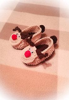 Topánočky - Vianočné papučky 0-3m - 11294686_