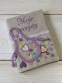 Papiernictvo - Z01 - vyšívaný obal na zápisník Moje recepty - 11297306_