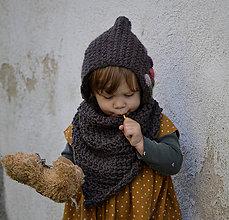 Detské čiapky - Rozkvitnutá čiapočka...hnedá - 11294994_