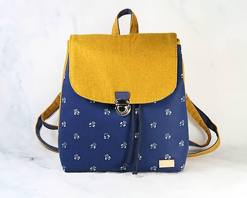 batoh Martin modrotlačový žltý 1