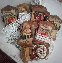 Dekorácie - Špulky - vintage špulka plochá Christmas - 11293781_