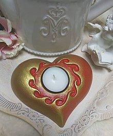 Dekorácie - Srdce svietnik na čajovú sviečku - 11293546_