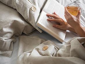 Úžitkový textil - Ľanové posteľné obliečky (130x90 paplón 60x40cm vankúš detská postielka FARBA BLEDOMODRÁ - Modrá) - 11297204_