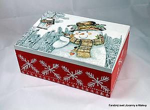 Krabičky - Vianočná krabička Snehuliačik - 11296853_