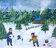 - Staviame snehuliaka / reprodukcia ilustracie - 11299103_